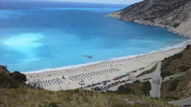 Beach greece myrtos, travel vacation.