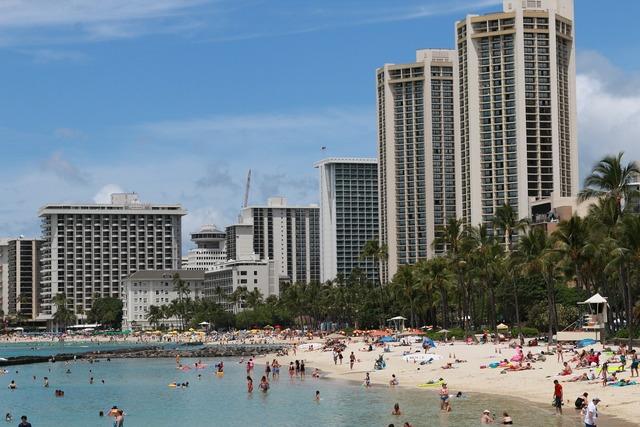 Beach hawaii resort, travel vacation.