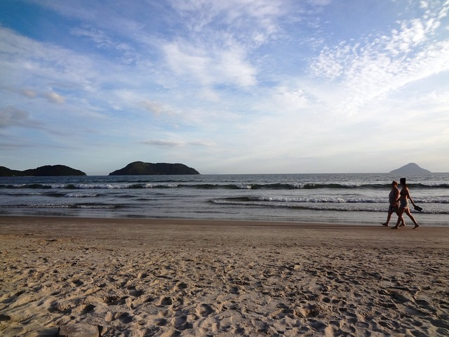 Beach holidays walk, travel vacation.