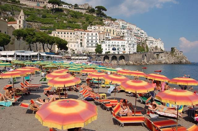 Beach italy parasols, travel vacation.