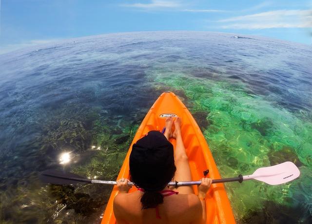 Beach kayak reef, travel vacation.