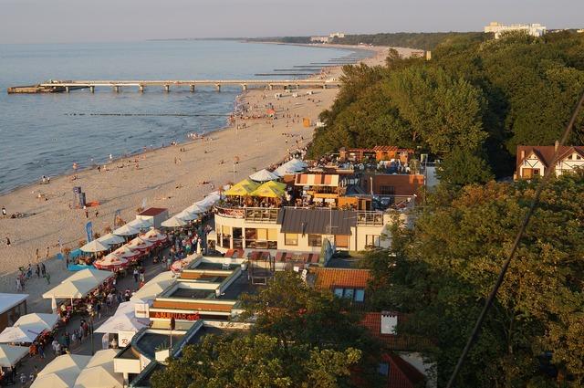 Beach kołobrzeg poland, travel vacation.