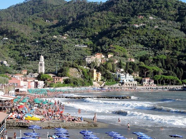 Beach levanto sea, travel vacation.