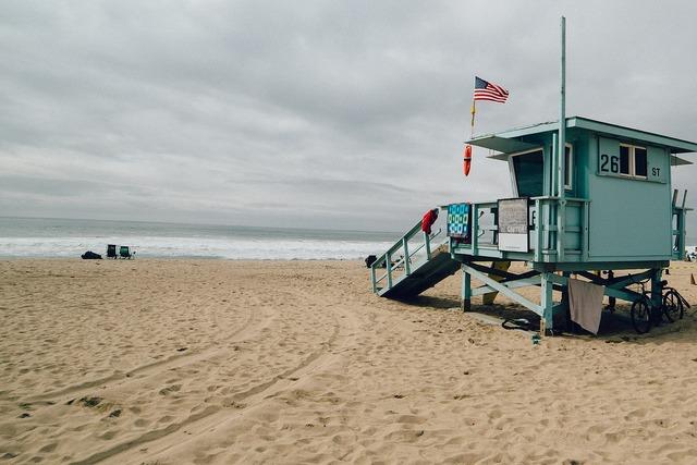 Beach lifesavers hut, travel vacation.