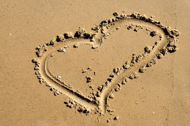 Beach love heart, travel vacation.