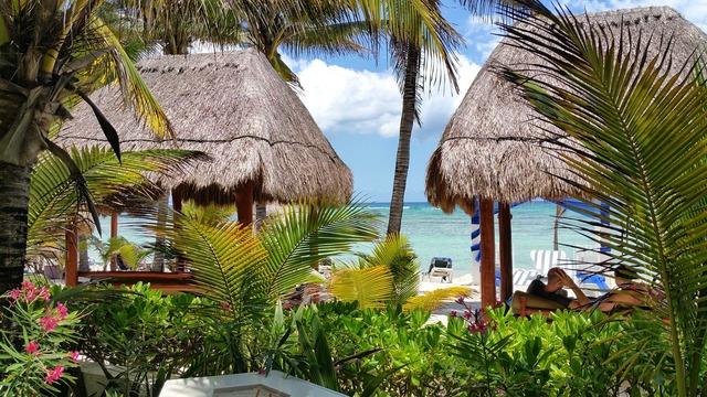 Beach mexico hotel, travel vacation.