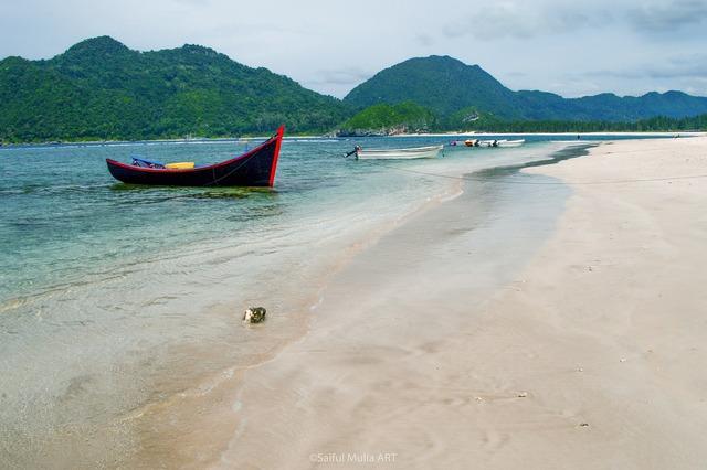 Beach peace boat, travel vacation.