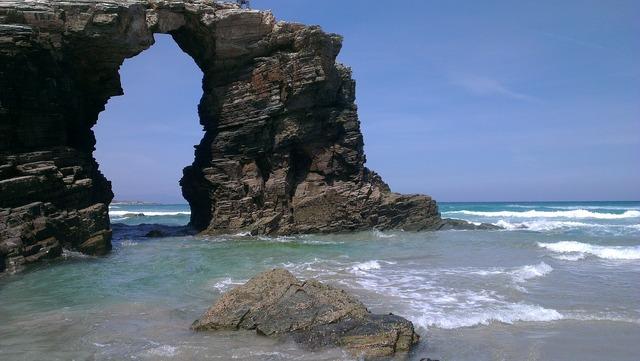 Beach ribadeo arc, travel vacation.