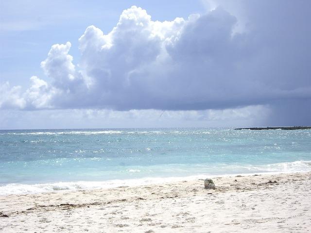 Beach riviera maya mexico, travel vacation.