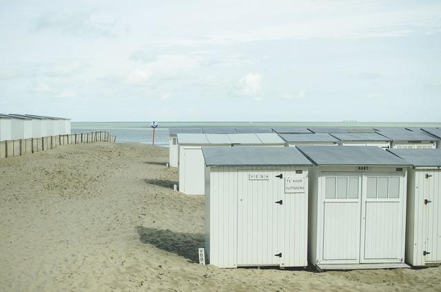Beach sand dune house, travel vacation.