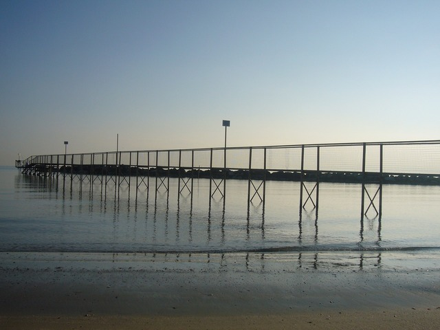 Beach sand jetty, travel vacation.