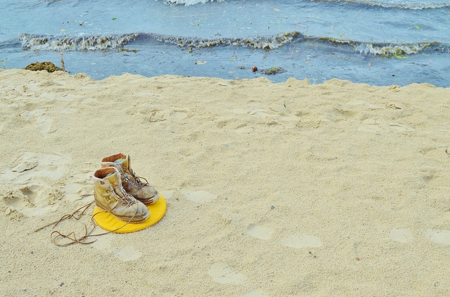 Beach sand shoes, travel vacation.