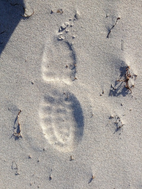 Beach sand traces, travel vacation.