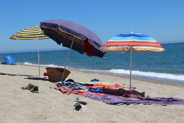 Beach sea parasol, travel vacation.