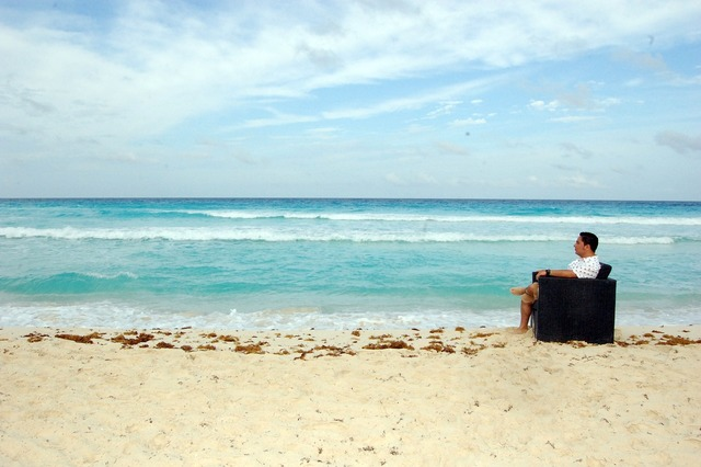Beach sea sky, travel vacation.