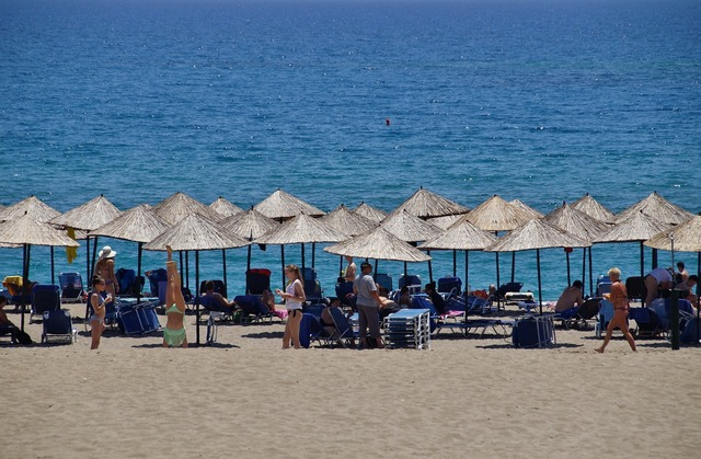 Beach sea sun umbrellas, travel vacation.