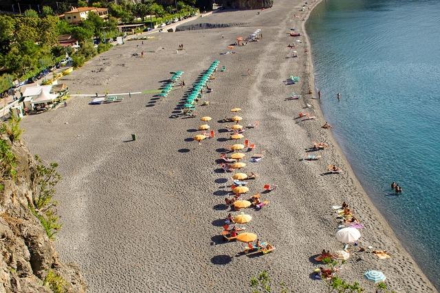 Beach sea umbrellas, travel vacation.
