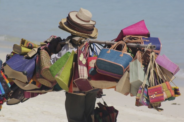 Beach seller bags colourful, travel vacation.