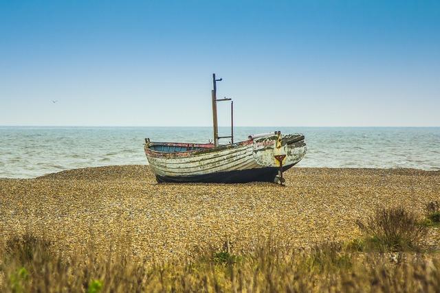 Beach ship seascape, travel vacation.