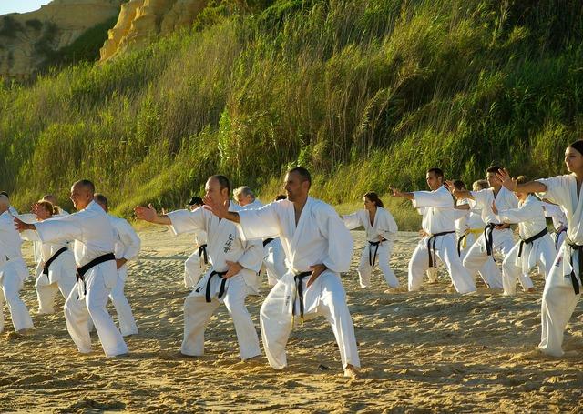 Beach sports karate, travel vacation.