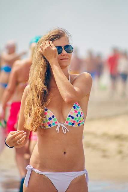 Beach summer bikini, travel vacation.
