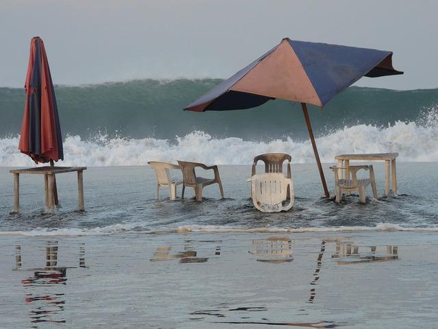 Beach sunshade sea, travel vacation.