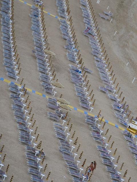 Beach umbrellas numana, travel vacation.