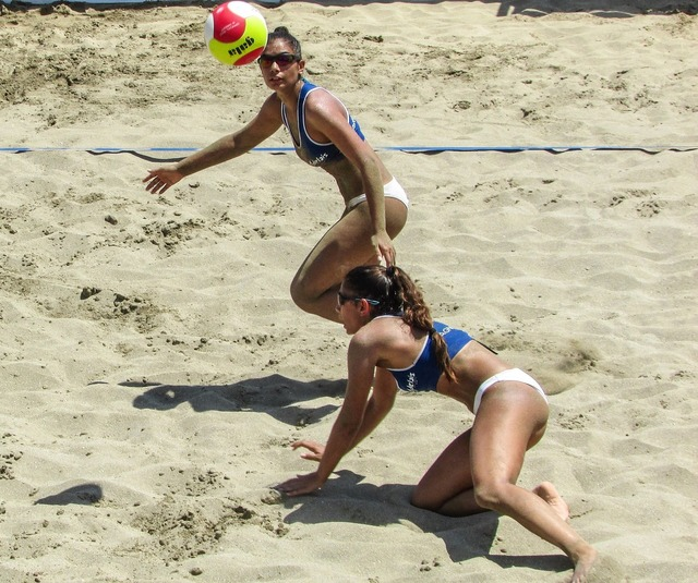 Beach volley action motion, sports.