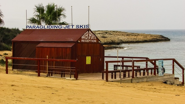 Beach water sports facilities, travel vacation.