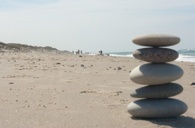 Beach zen stones, travel vacation.