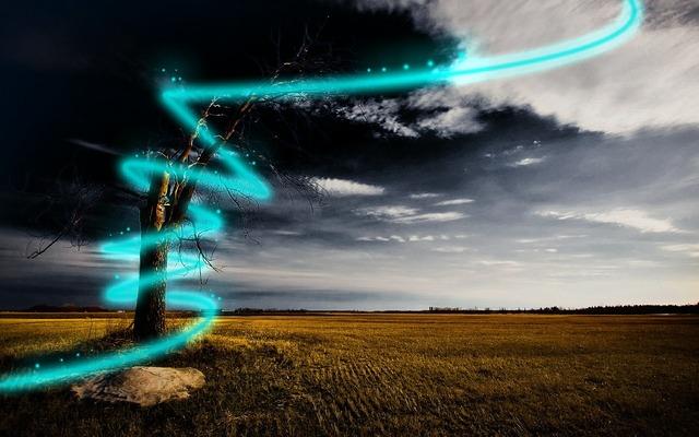 Beam of light lase alie, nature landscapes.