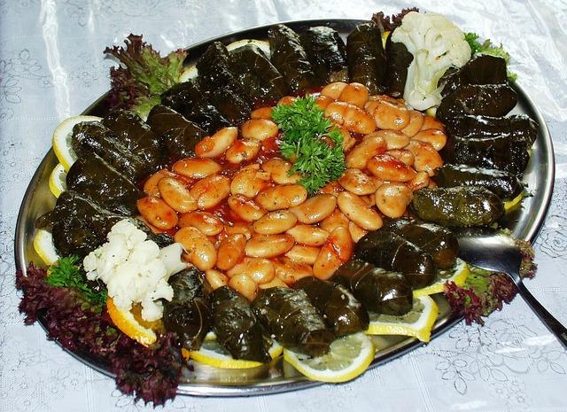 Beans grape leaves greek, food drink.