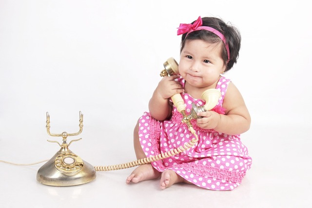 Bebe calling phone, computer communication.
