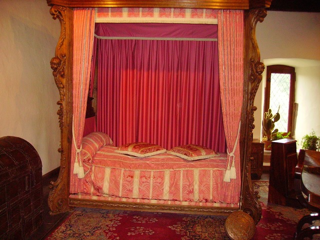 Bed middle ages castle.