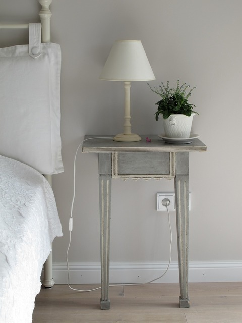 Bedroom side table lamp, nature landscapes.