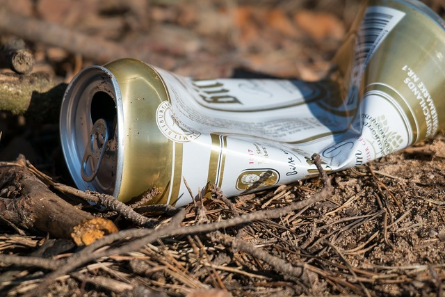 Beer can garbage pollution.