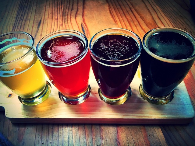 Beer flight craft beer, food drink.