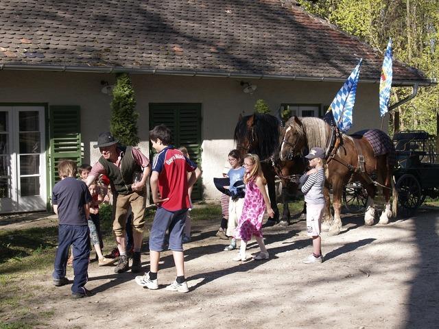 Beer garden event brewing horses, animals.