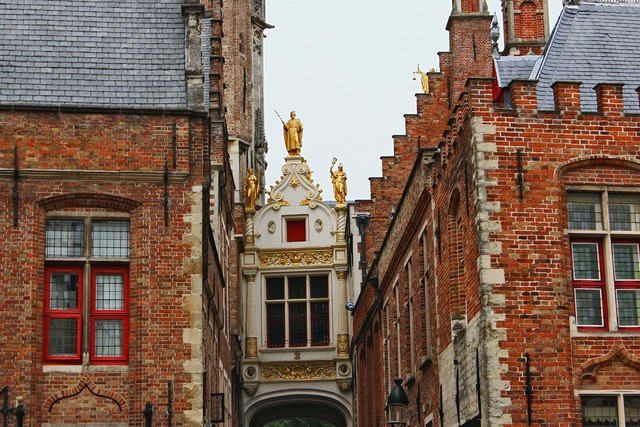 Belgium bruges middle ages, architecture buildings.