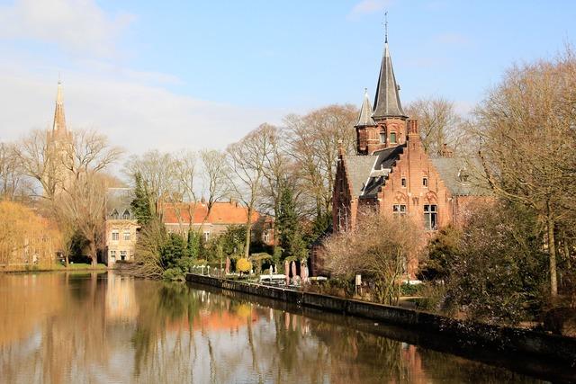 Belgium river house, architecture buildings.