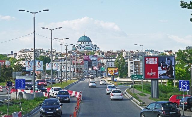 Belgrade incident road capital, architecture buildings.