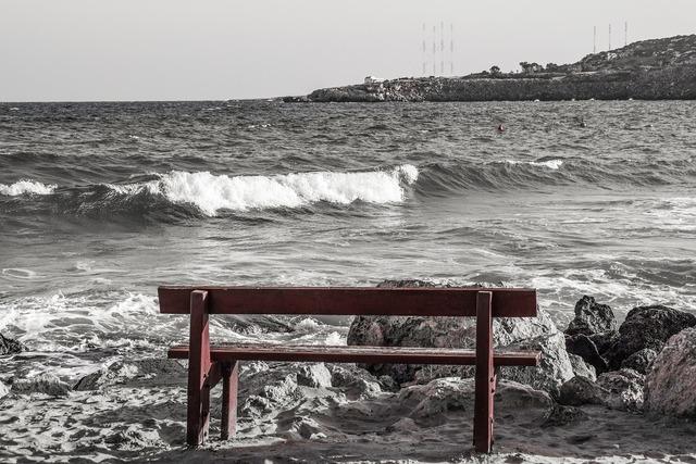 Bench beach sea, travel vacation.