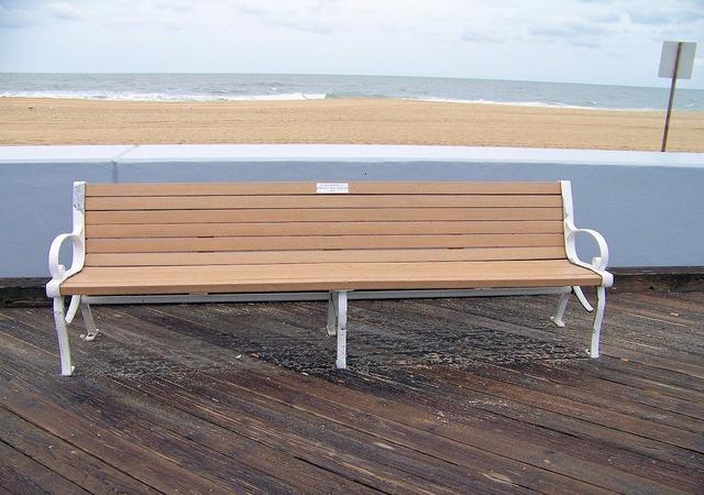 Bench boardwalk wooden, nature landscapes.
