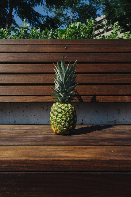 Bench fruit pineapple, food drink.