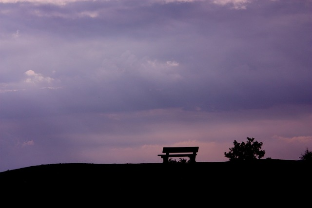 Bench view sky, travel vacation.