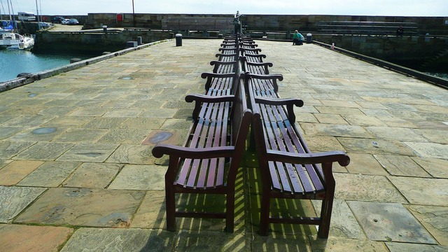 Benches rest pier, travel vacation.