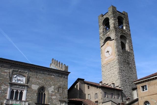 Bergamo old town square bell.