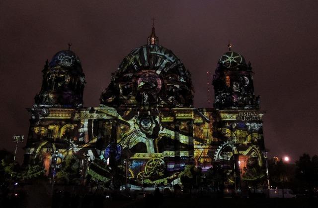 Berlin cathedral festival of light lighting.