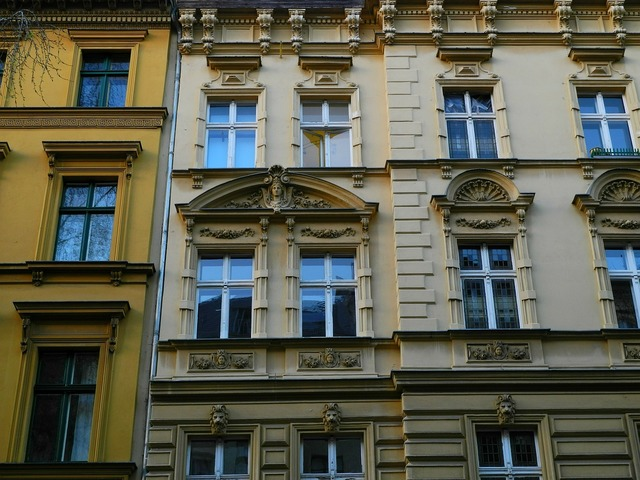 Berlin housewife window, architecture buildings.