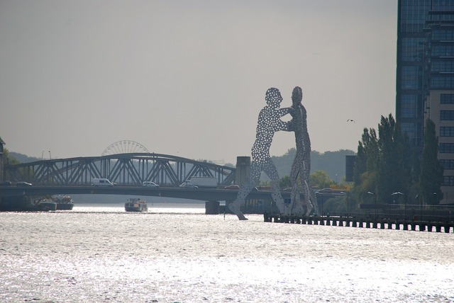 Berlin silhouette river.